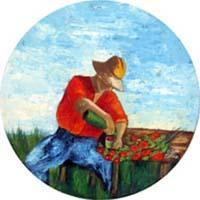 Quadro di M. da Montale  Contadino con fiori