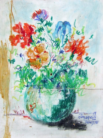 Art work by  Zimarelli (da Trieste) Fiori - pastel paper on table