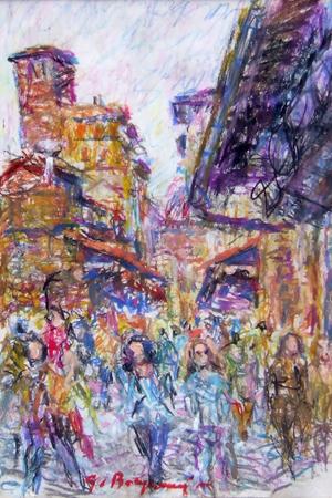 Quadro di Guido Borgianni Turisti su Ponte vecchio - pastello carta