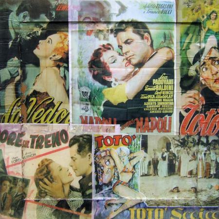 Quadro di Andrea Tirinnanzi Omaggio al cinema anni '50, collage su tavola 62 x 62 | FirenzeArt Galleria d'arte