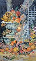 Quadro di Jun Ohji - Natura morta con tromba olio tela