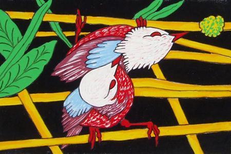 Quadro di Roberto Mapi Uccellini - smalto cartone