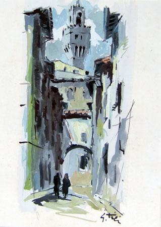 Quadro di Gino Tili Scorcio di Palazzo Vecchio - acquerello carta