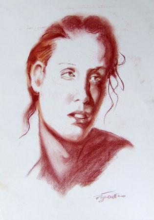 Art work by Luigi Pignataro Ritratto - blood paper