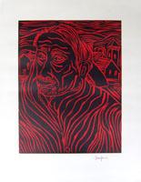 Work of Beppe Serafini - Ritratto incision paper