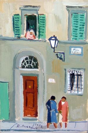 Quadro di Rodolfo Marma Piazza Santo Spirito - olio tavola
