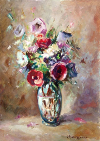 Art work by  Bruzzone Vaso con fiori - oil table