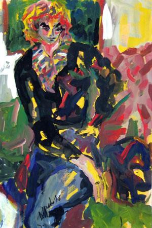 Quadro di Silvio Loffredo Figura - olio tavola