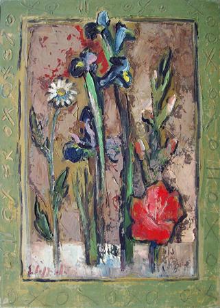 Quadro di Emanuele Cappello Fiori stilizzati, olio su tela 70 x 50 | FirenzeArt Galleria d'arte