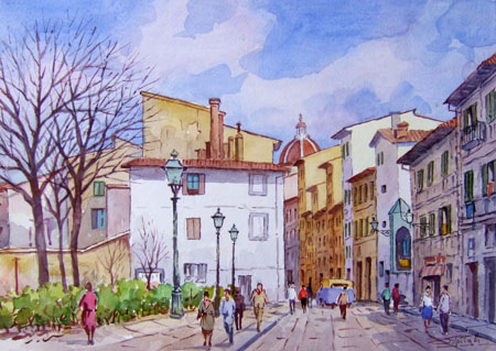 Art work by Giovanni Ospitali Piazza Tasso - watercolor table