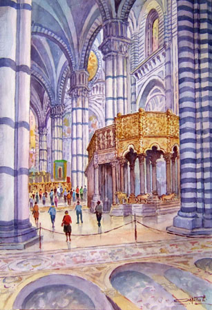 Art work by Giovanni Ospitali Siena- interno della Cattedrale - watercolor canvas cardboard