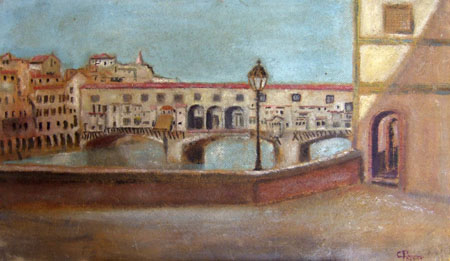 Quadro di firma Illeggibile Ponte Vecchio - olio tavola