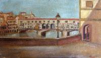 Quadro di firma Illeggibile - Ponte Vecchio olio tavola