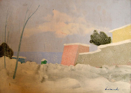 Art work by  Innocenti Paesaggio con neve - oil table