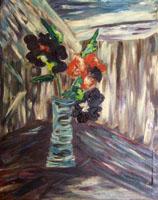 Work of firma Illeggibile - Vaso di Fiori oil canvas