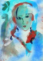 Quadro di Ernesto Treccani  Volto di donna