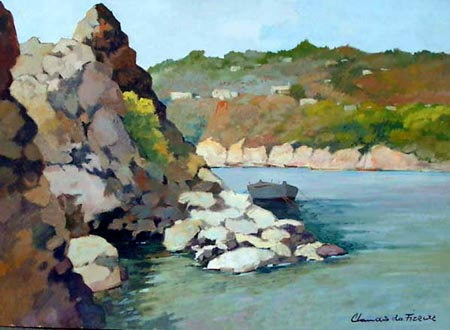 Art work by Claudio da Firenze Spiaggia di Canyelles (Costa Brava, Spagna) - oil canvas