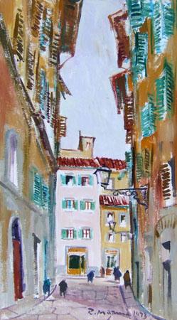 Quadro di Rodolfo Marma Via Mosca - olio tela