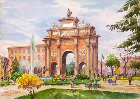 Art work by Giovanni Ospitali Firenze - Piazza della Libertà - watercolor canvas cardboard
