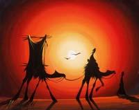 Quadro di  Ammar - Nel deserto mista tela