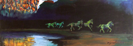 Quadro di Luigi Pignataro Cavalli in corsa - olio tela