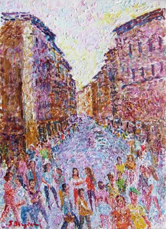 Quadro di Guido Borgianni Città - olio tela