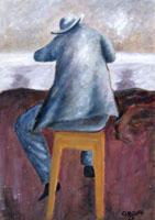 Quadro di  Copie d'Autore - Al bar (Ottone Rosai) olio cartone