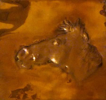 Quadro di Luigi Pignataro cavallo sbalzato su rame - scultura rame