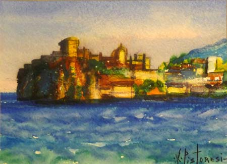 Quadro di Alberto Pistoresi Ischia: Castello Aragonese - acrilico carta