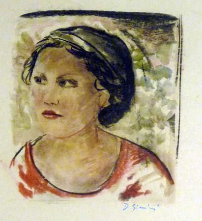 Quadro di D. Giannini Ritratto - olio carta