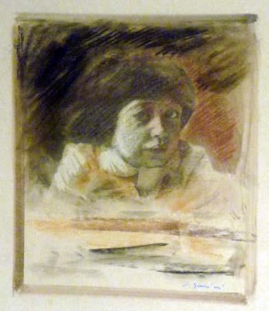Quadro di D. Giannini ritratto di giovane - olio carta