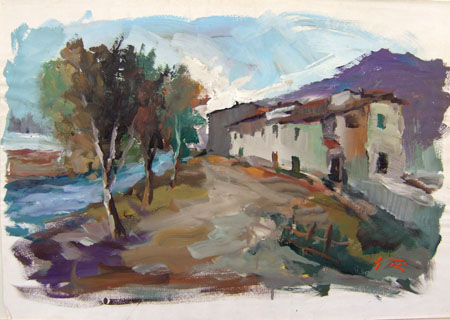 Art work by Gino Tili Case sul fiume  - varnish paper