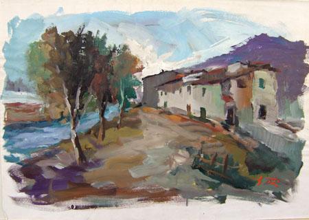 Quadro di Gino Tili Case sul fiume  - tempera carta