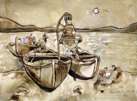 Quadro di Rosa Martemucci Barche - mista -