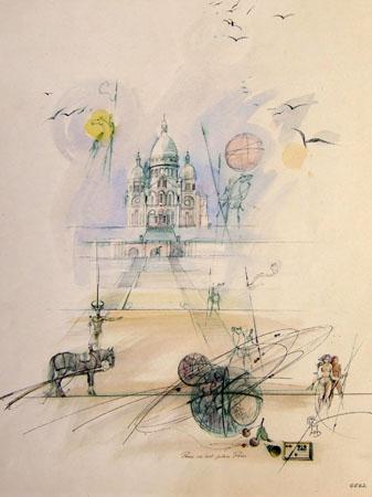 Quadro di Claude Falbriard Paris - mista carta