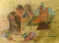 Quadro di Guido Borgianni - Scena Teatrale pastello cartone