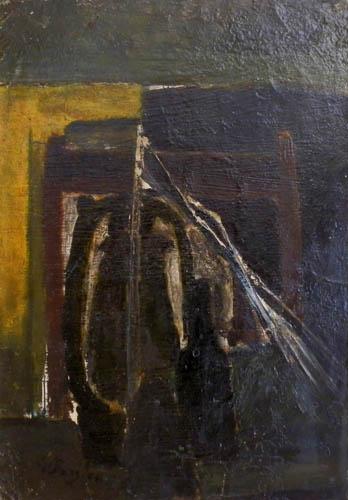 Quadro di Guido Borgianni Omaggio a Sironi - olio carta su tavola