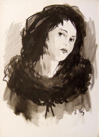 Quadro di Gino Tili Ritratto - mista carta