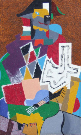 Art work by  Copie D'Autore Arlecchino (omaggio a Gino  Severini) - oil canvas