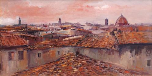 Art work by Norberto Martini Tetti di Firenze - oil canvas