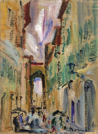 Quadro di Rodolfo Marma Borgo S. Frediano - olio tavola