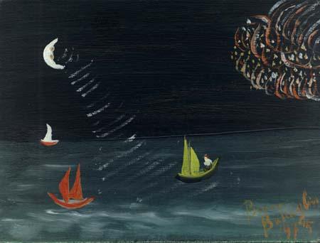 Quadro di Bruno Battaglini Marina notturna - olio cartone