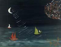 Quadro di Bruno Battaglini - Marina notturna olio cartone