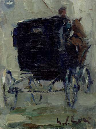 Art work by Gino Paolo Gori Vecchia carrozza - oil canvas cardboard