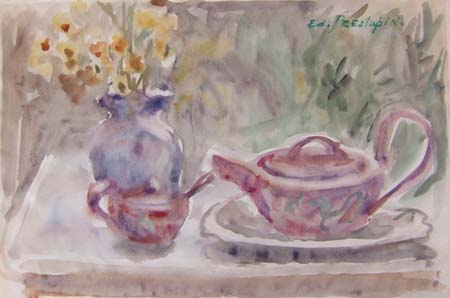 Quadro di Edmondo Prestopino Composizione con fiori - acquerello carta