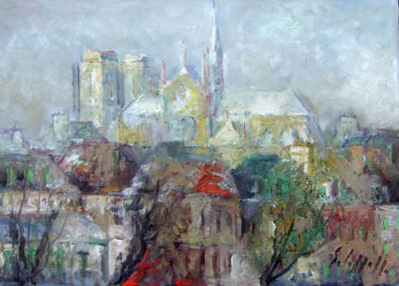 Art work by Emanuele Cappello Notre-Dame de Paris - oil canvas