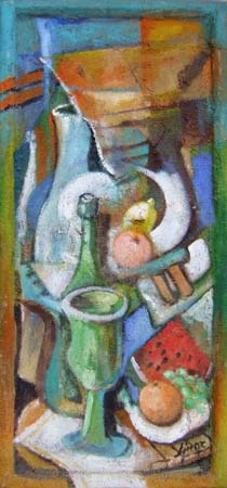 Art work by Lino Russo (Linor) Natura morta con frutta - mixed table