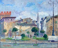 Work of Gino Paolo Gori - P.za V.Veneto (Montevarchi)AR oil canvas