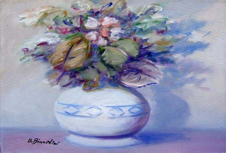 Quadro di Umberto Bianchini Vaso di fiori - olio tela
