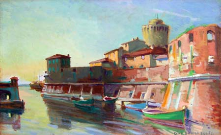 Art work by Dino Banchelli Fortezza Vecchia - Livorno - oil table